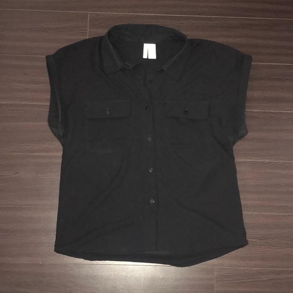 Black Short Sleeved Button Up